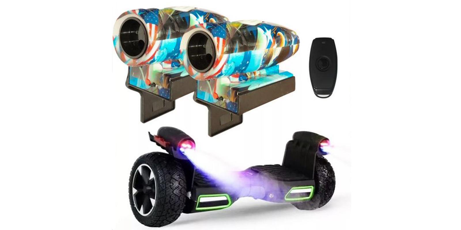 Coppia marmitta finta spruzzatore fumo suono hoverboard skateboard pattino